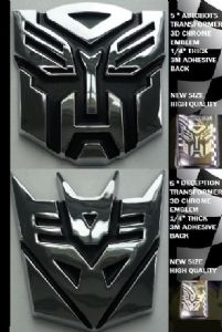 Transformers Autobot and Decepticon Chrome Emblem 13cmTall - Prop Replica